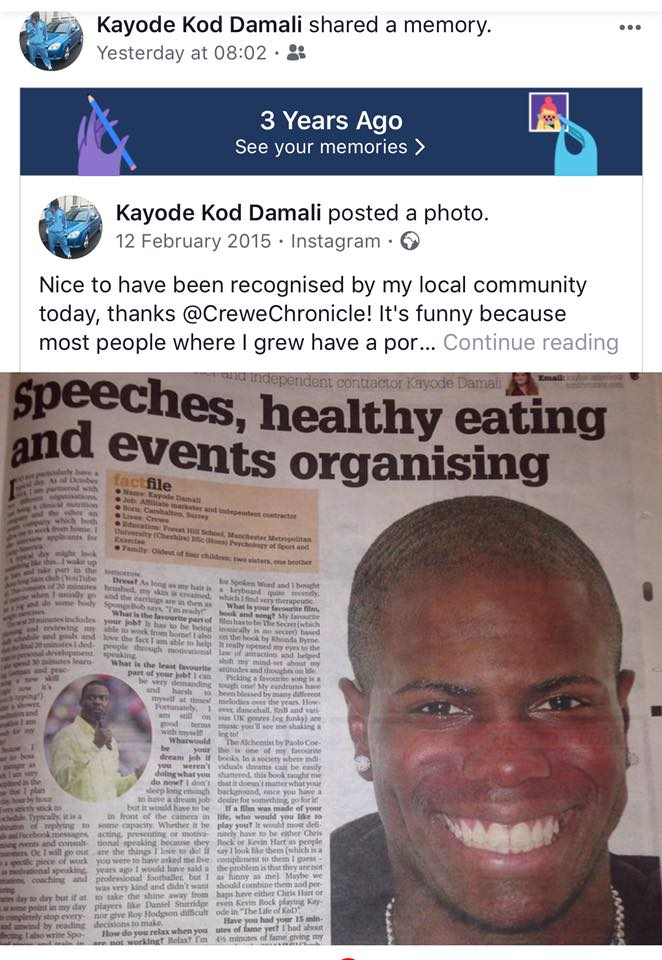 Kayode Damali Crewe Chronicle Facebook Screenshot